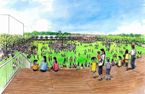 保存する外野席スタンドから見た市民広場のイメージ