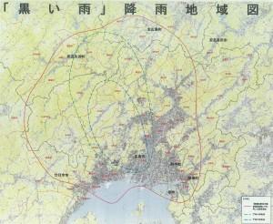 広島市が国に対して拡大を要望している黒い雨降雨地域(赤線)。青線が現在指定されている黒い雨降雨地域。
