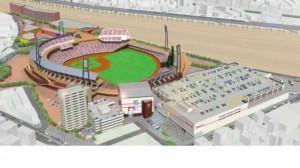 マツダスタジアムの右側がコストコ(4階)、その左がルネサンス(5階)と駐車場(4階)、左側がマンション(15階)