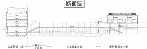 広島駅自由通路の断面図