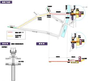 路面電車の広島駅への進入方法(高架案)。比治山線は比治山下から稲荷町交差点への直通ルートのみが実現可能。