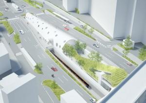 2015年春の開業をめざすアストラムライン白島新駅のイメージ