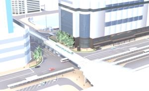 路面電車の高架での広島駅乗り入れのイメージ