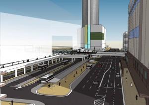 西側から見たイメージ図(左側が駅ビル)