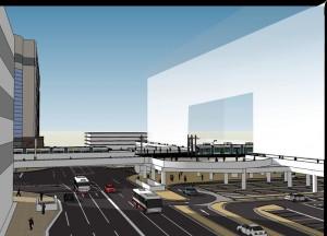 東側から見たイメージ図(右側が駅ビル)