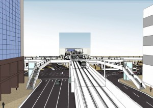 南側から見たイメージ図(向こう側が駅ビル)