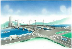 商工センターから五日市に架かる新八幡川橋東詰交差点(商工センター西詰)のイメージ