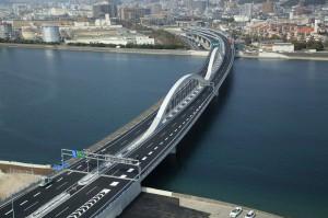 3月23日に開通した太田川大橋の全景(観音~商工センター・無料区間)