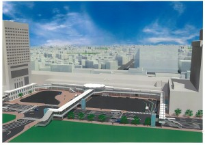 広島駅新幹線口ペデストリアンデッキの完成イメージ図
