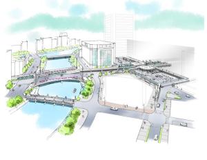 広島駅南口再整備のイメージ(猿猴橋町から広島駅方面)