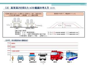 海田市駅周辺では高架を3.2mに抑えてコストを縮減します。