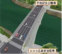 平和大橋に新たに整備される歩道橋のイメージ(写真右側が上流部)