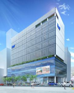 二葉の里地区に建設される広島テレビ新社屋のイメージ