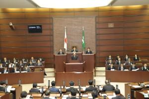 2月15日から3月25日まで開かれる第1回定例会。一般会計予算は5989億8953万円。