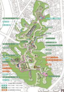 比治山「平和の丘」基本計画の施設配置図